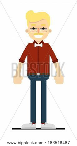 Smiling blond boy in bow tie, shirt and pants isolated on white background vector illustration. People personage in flat design.