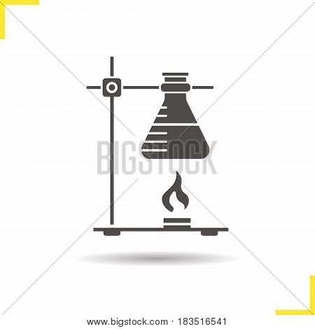 Chemical reaction glyph icon. Drop shadow silhouette symbol. Ring stand with flask over fire. Negative space. Vector isolated illustration