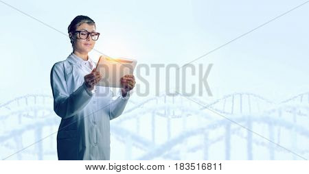 Scientist woman using tablet pc. Mixed media