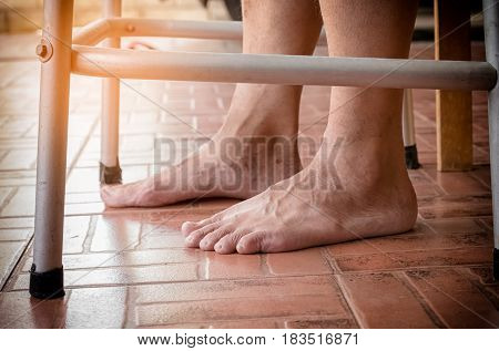 Elderly Man Feet With The Walker ,senior Man Using Walker