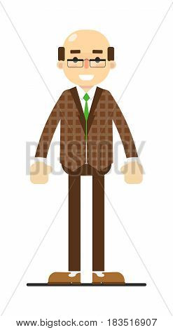 Adult bald man in brown suit and tie isolated on white background vector illustration. People personage in flat design.