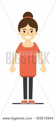 Positive pretty girl in red dress isolated on white background vector illustration. People personage in flat design.