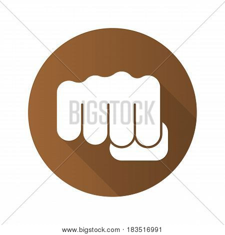Punch flat design long shadow icon. Squeezed fist. Vector silhouette symbol