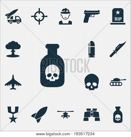 Army Icons Set. Collection Of Weapons, Aircraft, Ordnance And Other Elements. Also Includes Symbols Such As Fighter, Rockets, Head.