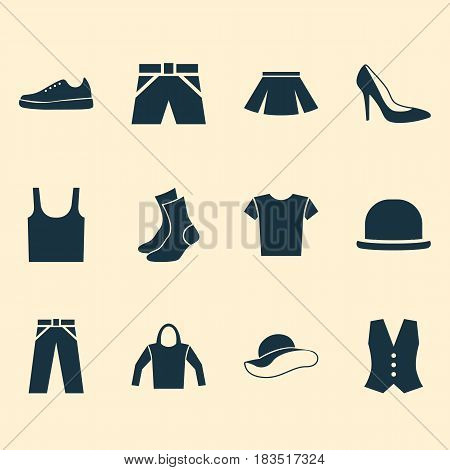 Garment Icons Set. Collection Of Trunks Cloth, Panama, Waistcoat And Other Elements. Also Includes Symbols Such As Pants, Half-Hose, Woman.