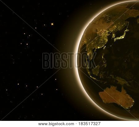 East Asia And Australia At Night