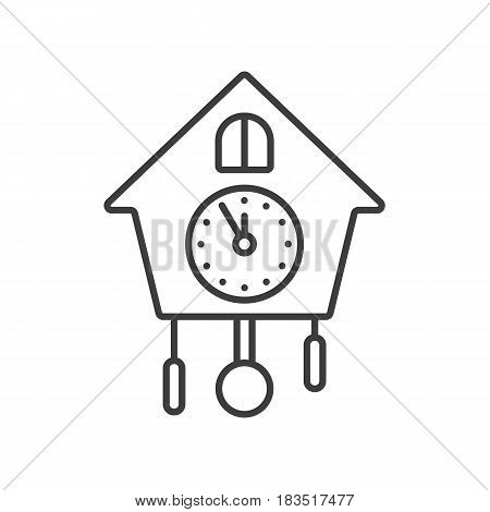 Wall clock linear icon. Thin line illustration. Contour symbol. Vector isolated outline drawing