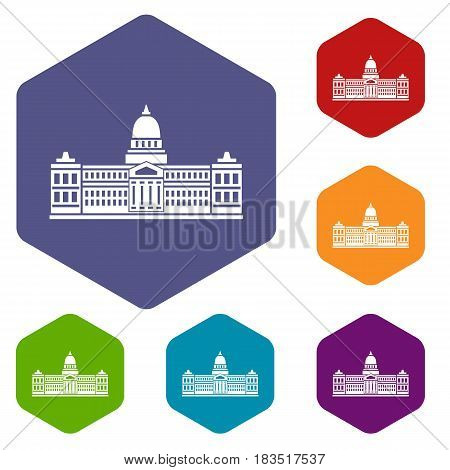 Palace of Congress in Buenos Aires, Argentina icons set hexagon isolated vector illustration