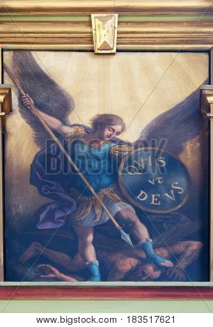 ZAGREB, CROATIA - MAY 28: Archangel Michael, altarpiece in the Basilica of the Sacred Heart of Jesus in Zagreb, Croatia on May 28, 2015.