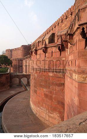 AGRA, INDIA - FEBRUARY 14: Red Agra Fort in Agra. Uttar Pradesh, UNESCO World heritage site, India on February 14, 2016.