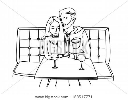 Young couple sits in a cafe and drinks wine. Romantic date. The guy hugs the girl. Lineart contour flat illustration