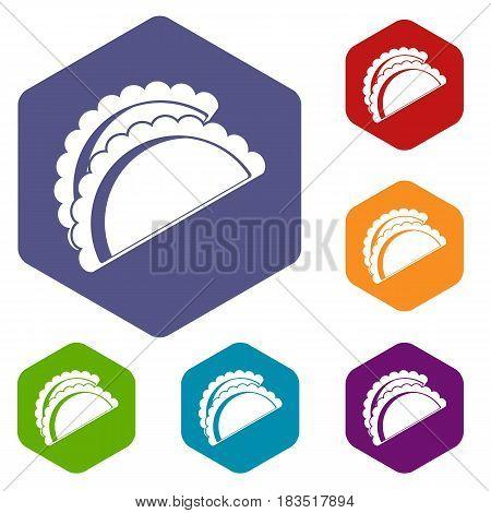 Empanadas de pollo icons set hexagon isolated vector illustration