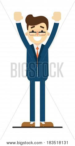 Happy businessman with hands up gesture isolated on white background vector illustration. Smiling man in blue business suit in flat design.