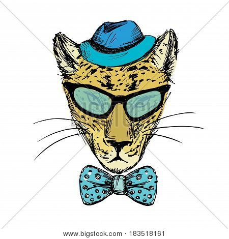 Hand Drawn Fashion Portrait Of Cheetah Hipster With Bow,glasses