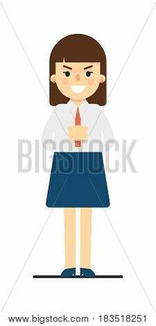 Angry young woman with folded hands gesture isolated on white background vector illustration. Beautiful pretty school girl in blouse and skirt in flat design.