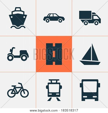 Transportation Icons Set. Collection Of Skooter, Van, Omnibus And Other Elements. Also Includes Symbols Such As Bike, Truck, Highway.