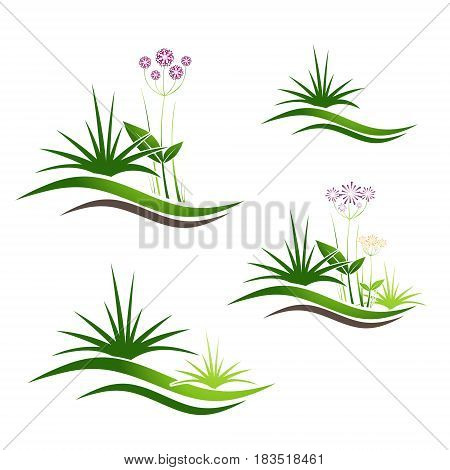 Illustration of Grass Gardening and Landscaping Logo Design Collection