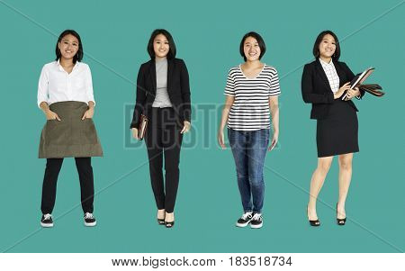 Asian Women Set Gesture Standing Studio Portrait Isolated