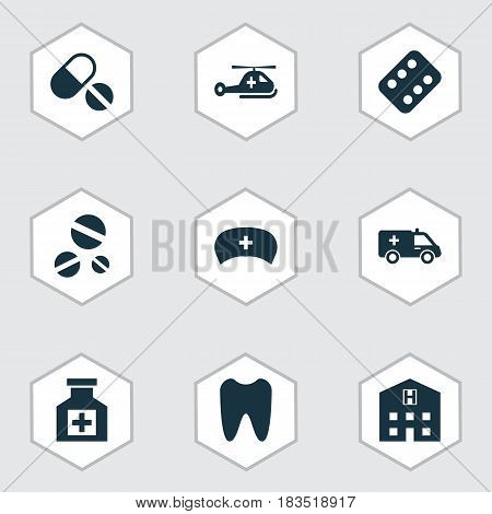 Antibiotic Icons Set. Collection Of Remedy, Claw, Cap And Other Elements. Also Includes Symbols Such As Remedy, Cap, Healthy. poster