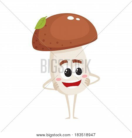 Funny porcini mushroom character with smiling human face standing arms akimbo, cartoon vector illustration isolated on white background. Smiling porcini mushroom character standing and smiling