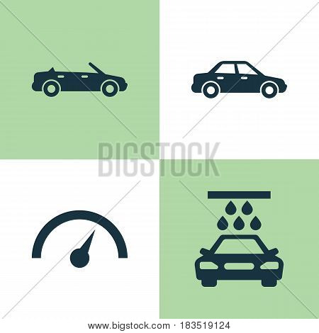 Automobile Icons Set. Collection Of Transport Cleaning, Chronometer, Convertible Model And Other Elements. Also Includes Symbols Such As Convertible, Cabriolet, Auto.