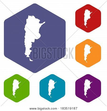 Map of Argentina icons set hexagon isolated vector illustration