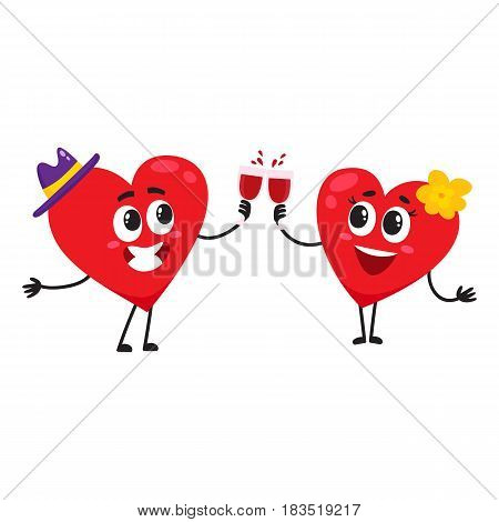 Two hearts clinking glasses, celebrating, couple in love concept, cartoon vector illustration on white background. Funny couple of hearts with glasses, Valentine day, wedding celebration concept