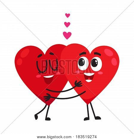 Two hearts hugging, embracing each other, couple in love concept, cartoon vector illustration on white background. Funny couple of hearts hugging, eternal love concept, Valentine day