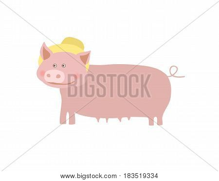 Farm pet pig with hat vector illustration isolated on white background. Cute farm animal, domestic livestock in cartoon style.