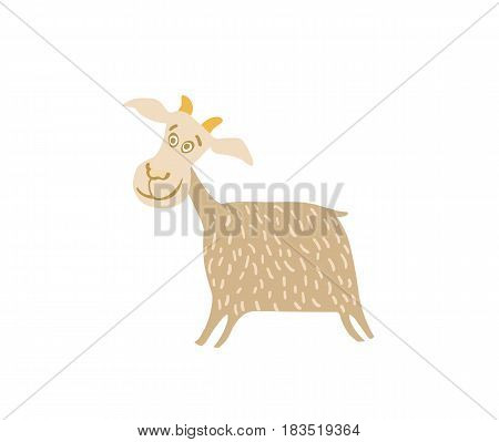 Young goat hand drawn vector illustration isolated on white background. Cute cattle farm animal, domestic livestock in cartoon style.