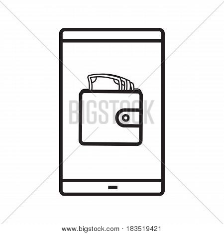Smartphone banking app linear icon. Thin line illustration. Smart phone with wallet full of cash contour symbol. Financial application. Vector isolated outline drawing