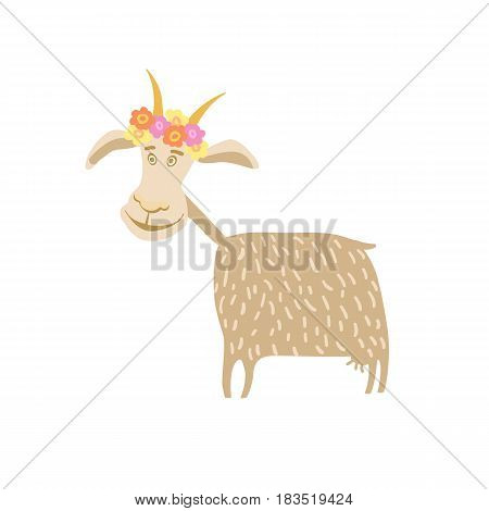 Goat with flower wreath vector illustration isolated on white background. Cute cattle farm animal, domestic livestock in cartoon style.