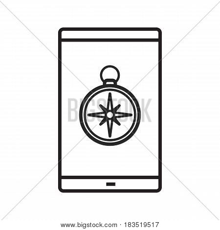 Smartphone gps location linear icon. Thin line illustration. Navigator. Smart phone with compass contour symbol. Map application. Vector isolated outline drawing