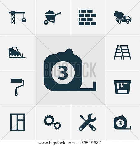 Construction Icons Set. Collection Of Paint Bucket, Measure Tool, Service And Other Elements. Also Includes Symbols Such As Stair, Crane, Brickwork.