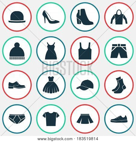 Garment Icons Set. Collection Of Panama, Sneakers, Female Winter Shoes And Other Elements. Also Includes Symbols Such As Clothes, Dress, Shoe.