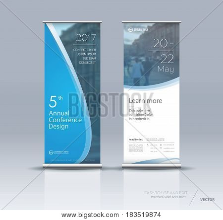 Design of blue vertical banner. It can be used for roll up street banners, posters, signs, flags, brochures and leaflets. vector illustration.
