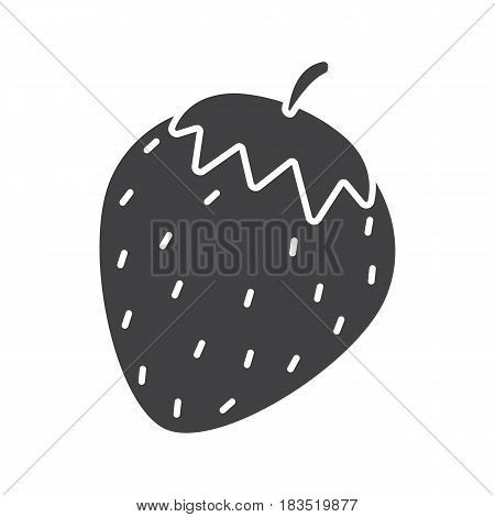Strawberry glyph icon. Silhouette symbol. Negative space. Vector isolated illustration
