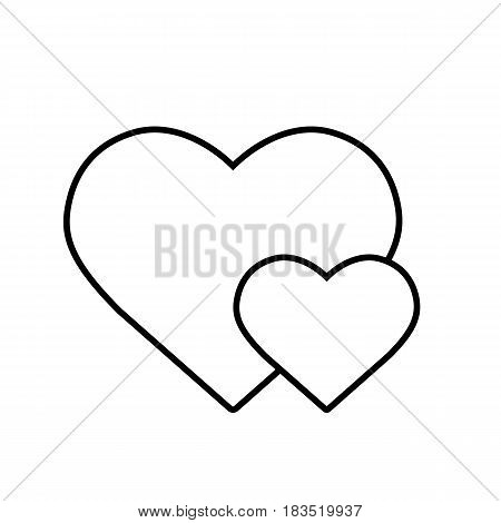 Two hearts linear icon. Thin line illustration. Valentine's Day contour symbol. Vector isolated outline drawing