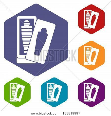 Mummy in sarcophagus icons set hexagon isolated vector illustration