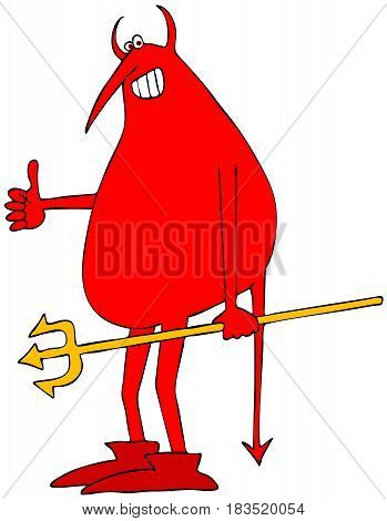 Illustration of a red devil holding a pitchfork and giving the thumbs-up gesture.
