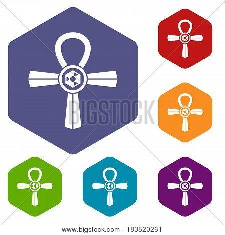 Egypt Ankh symbol icons set hexagon isolated vector illustration