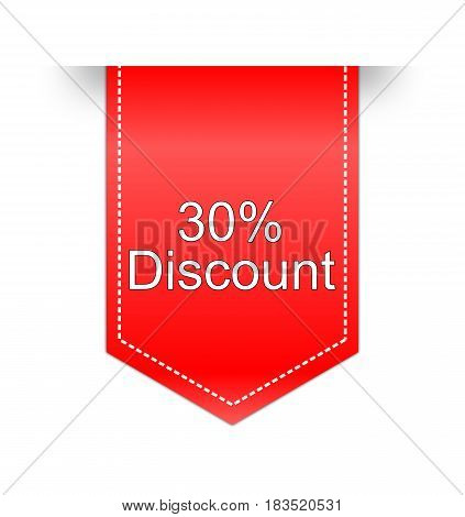 red 30% Discount label on white background - illustration