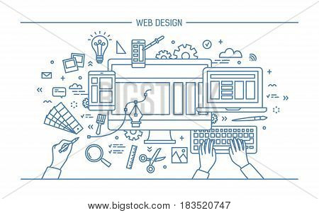 Web development, line art banner. site with responsive design. flat vector illustration