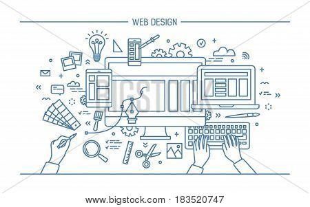Web development, line art banner. site with responsive design. flat vector illustration