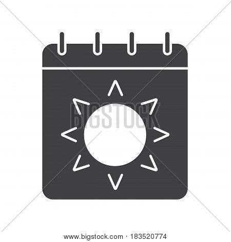 Summer season glyph icon. Silhouette symbol. Calendar page with sun. Negative space. Vector isolated illustration
