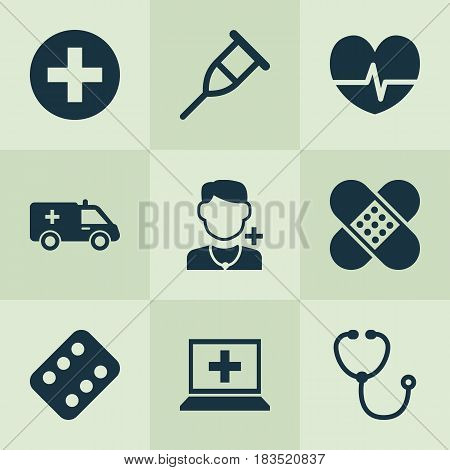 Antibiotic Icons Set. Collection Of Physician, First-Aid, Database And Other Elements. Also Includes Symbols Such As Computer, Ambulance, Plaster.