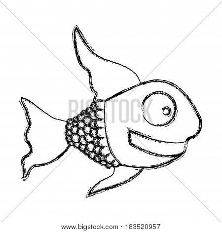 monochrome sketch of fish with long fins vector illustration