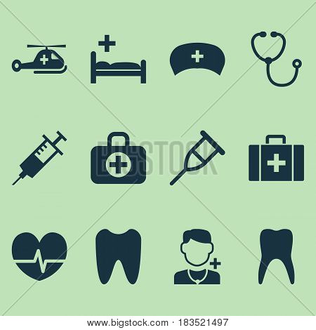 Drug Icons Set. Collection Of Device, Physician, Dental And Other Elements. Also Includes Symbols Such As Rhythm, Care, Helicopter.