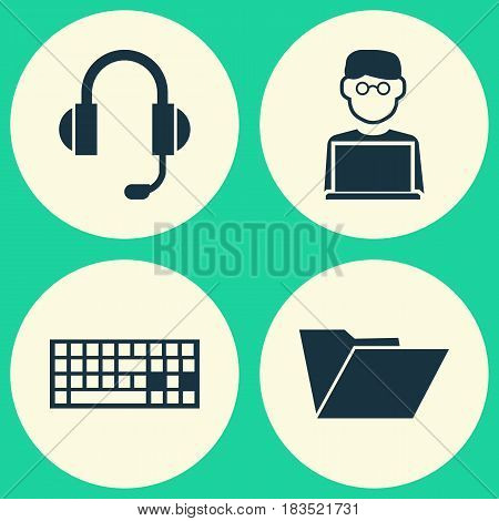 Laptop Icons Set. Collection Of Earphone, Keypad, Programmer And Other Elements. Also Includes Symbols Such As Computer, File, Earphone.