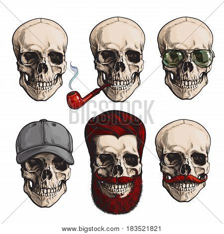 Set of human skull bones with sunglasses, red beard, moustache, smoking pipe, sketch vector illustration isolated on white background. Hand drawn skull with smoking pipe, hipster beard, sunglasses